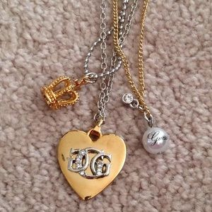 Guess gold & silver charm necklace